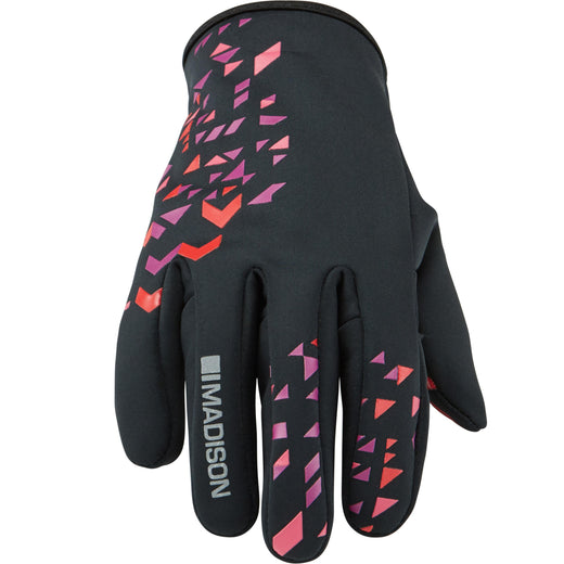 Madison Element women's softshell gloves, black / chilli red | VeloVixen