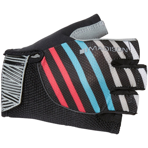 Madison Sportive women's mitts, stripes black / blue / pink | VeloVixen