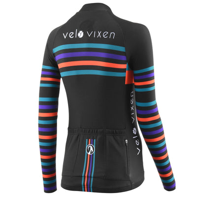 VeloVixen Stripe Long Sleeve Cycling Jersey with Stolen Goat - Limited Edition