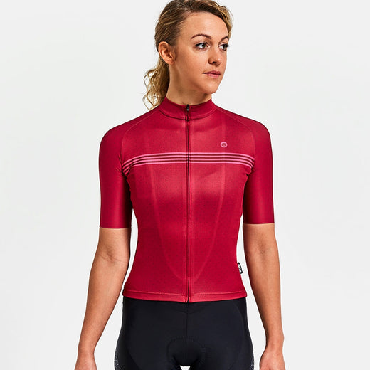 Chapeau trim cut Madeleine ladies cycling jersey Devon Red