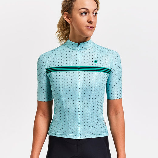 Chapeau! Madeleine womens specific polka dot cycling jersey pale blue