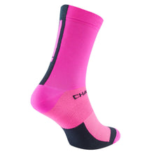 Load image into Gallery viewer, Chapeau! Lightweight Tall Performance Socks - Hot Pink/Deep Ocean