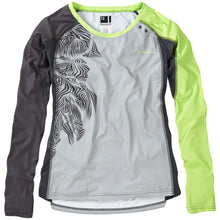Load image into Gallery viewer, Madison Flux Enduro women's long sleeve jersey, silver grey / sharp green | VeloVixen