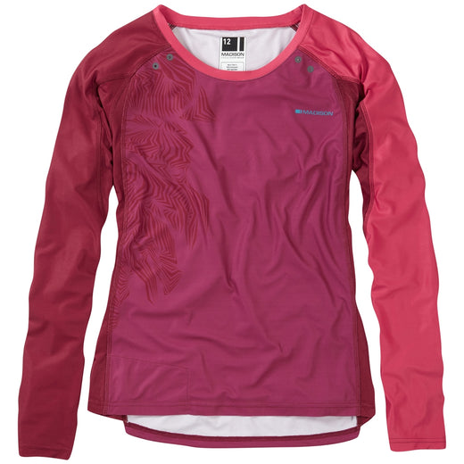Madison Flux Enduro women's long sleeve jersey, malbec red / classy burgundy | VeloVixen