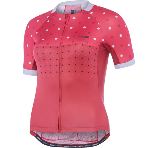 Madison Sportive Apex women's short sleeve jersey, raspberry / rio red hex dots | VeloVixen
