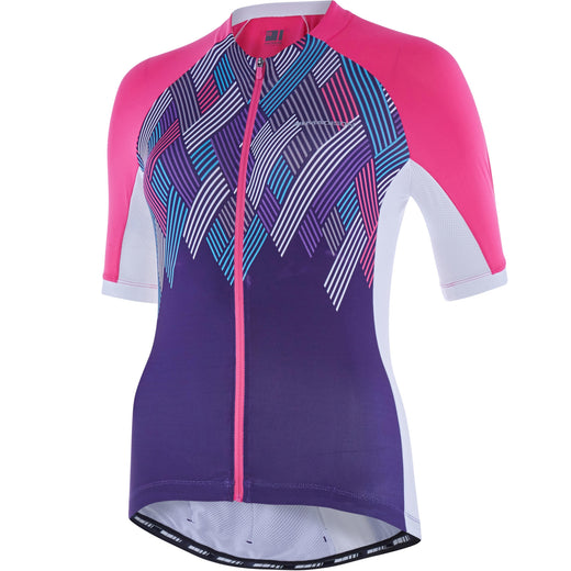Madison Sportive women's short sleeve jersey, pink glo / purple velvet crosshatch | VeloVixen