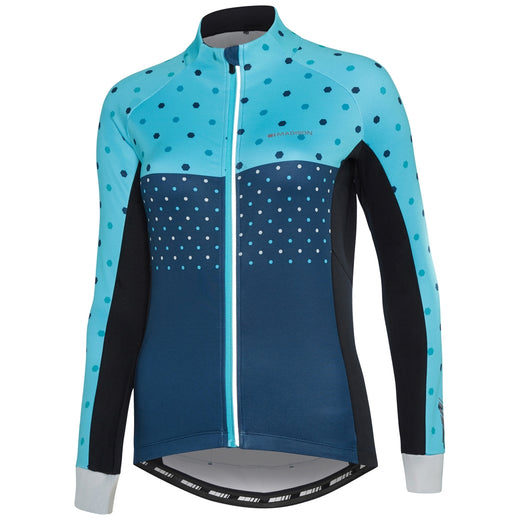 Madison Sportive women's long sleeve thermal jersey, hex dots blue curaco | VeloVixen