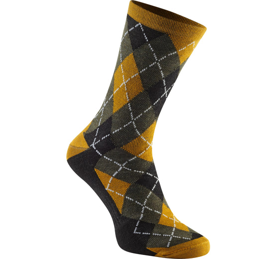 Madison Assynt merino long sock, mango argyle | VeloVixen