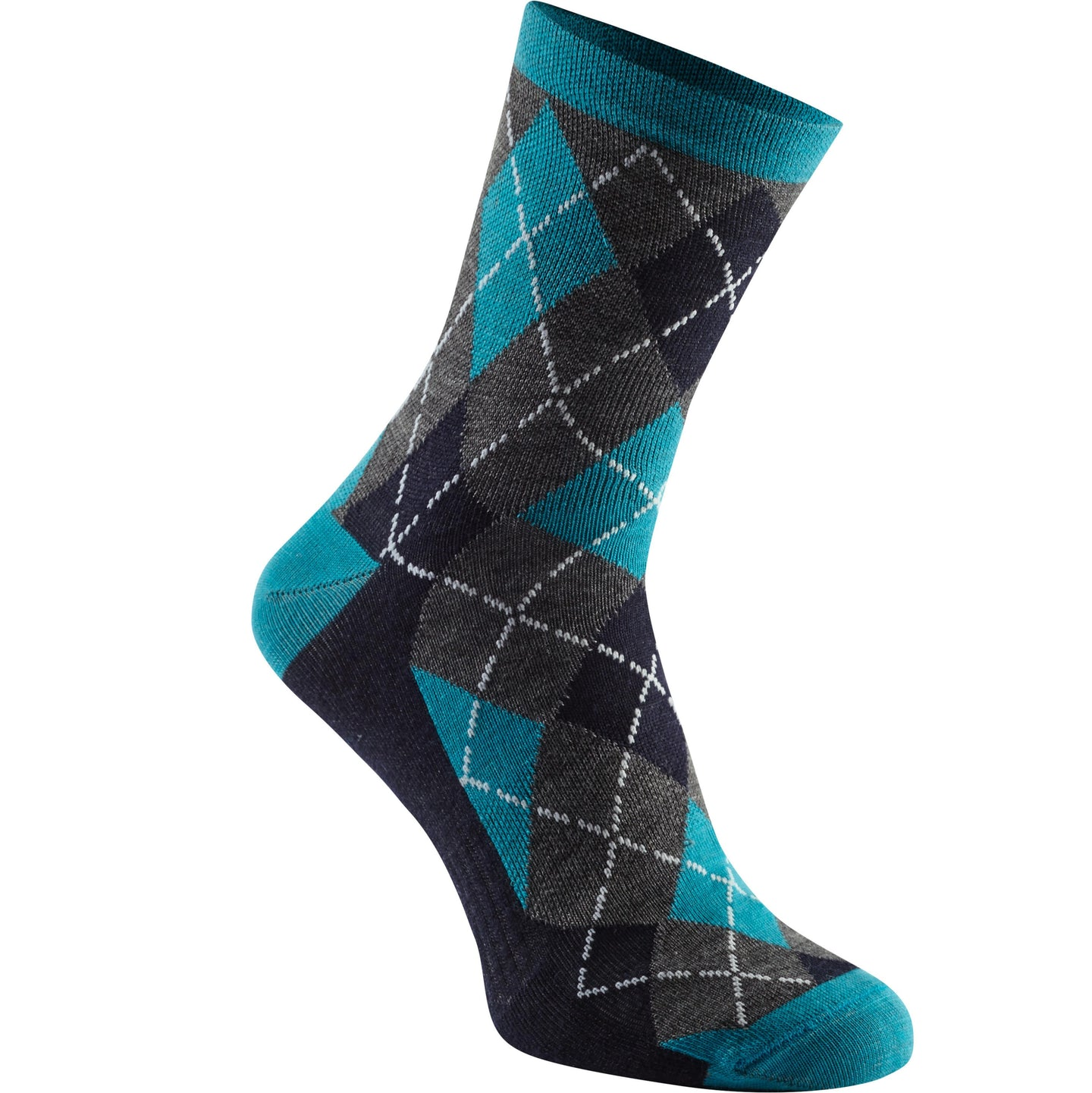 Madison Assynt merino mid sock, bay blue argyle | VeloVixen
