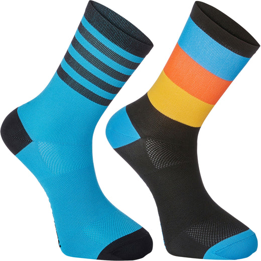 Madison Sportive mid sock twin pack, block stripe black / cyan blue | VeloVixen