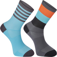 Load image into Gallery viewer, Madison Sportive Mid Sock Twin Pack - Block Stripe Dark Shadow/Blue Curaco