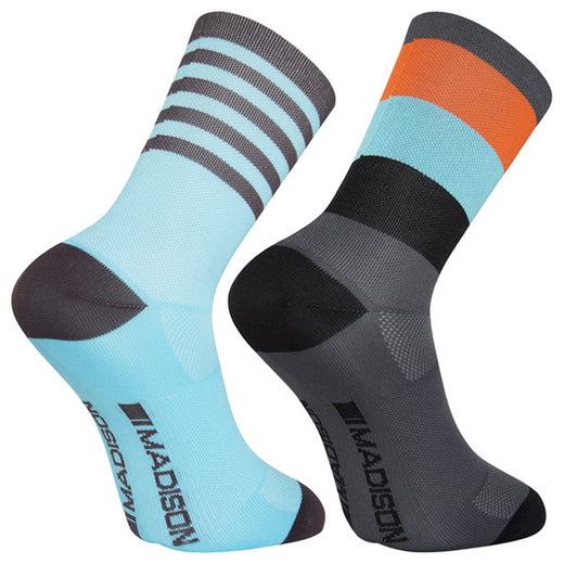 Madison Sportive Mid Sock Twin Pack - Block Stripe Dark Shadow/Blue Curaco