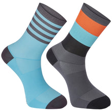 Load image into Gallery viewer, Madison Sportive mid sock twin pack, block stripe dark shadow / blue curaco | VeloVixen
