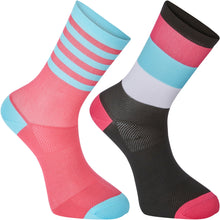Load image into Gallery viewer, Madison Sportive Mid Sock Twin Pack - Block Stripe Black/Pink Glo