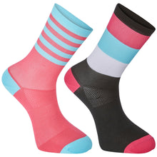 Load image into Gallery viewer, Madison Sportive mid sock twin pack, block stripe black / pink glo | VeloVixen