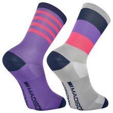 Load image into Gallery viewer, Madison Sportive Mid Sock Twin Pack - Block Stripe Silver Grey/Deep Lavender