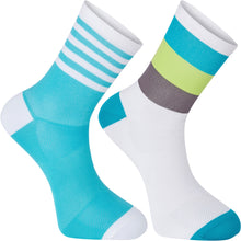 Load image into Gallery viewer, Madison Sportive Mid Sock Twin Pack - Block Stripe White/Peacock Blue