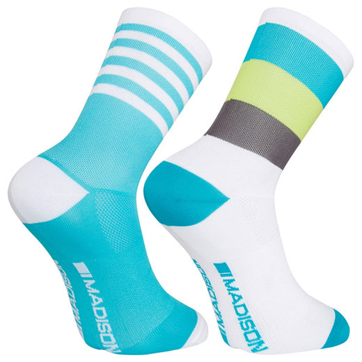 Madison Sportive Mid Sock Twin Pack - Block Stripe White/Peacock Blue