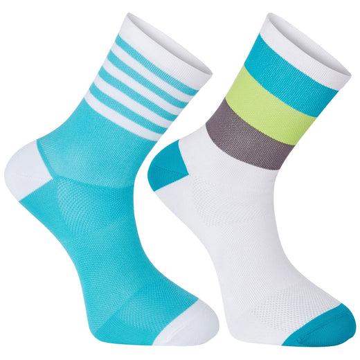 Madison Sportive mid sock twin pack, block stripe white / peacock blue | VeloVixen
