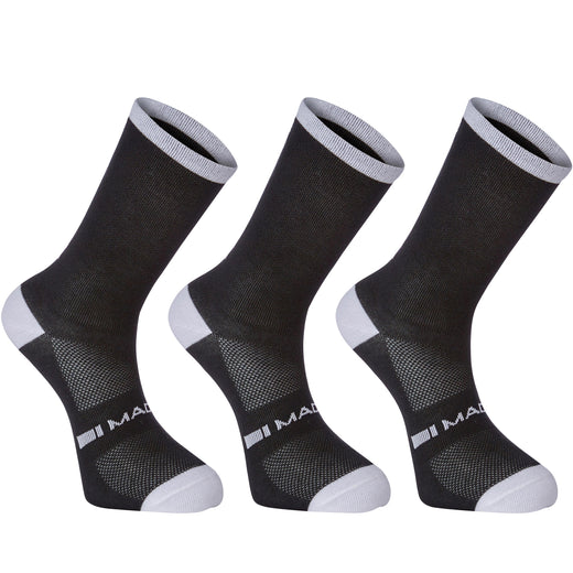 Madison Freewheel coolmax long sock triple pack, black | VeloVixen