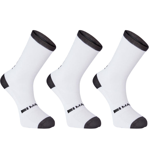 Madison Freewheel coolmax long sock triple pack, white | VeloVixen