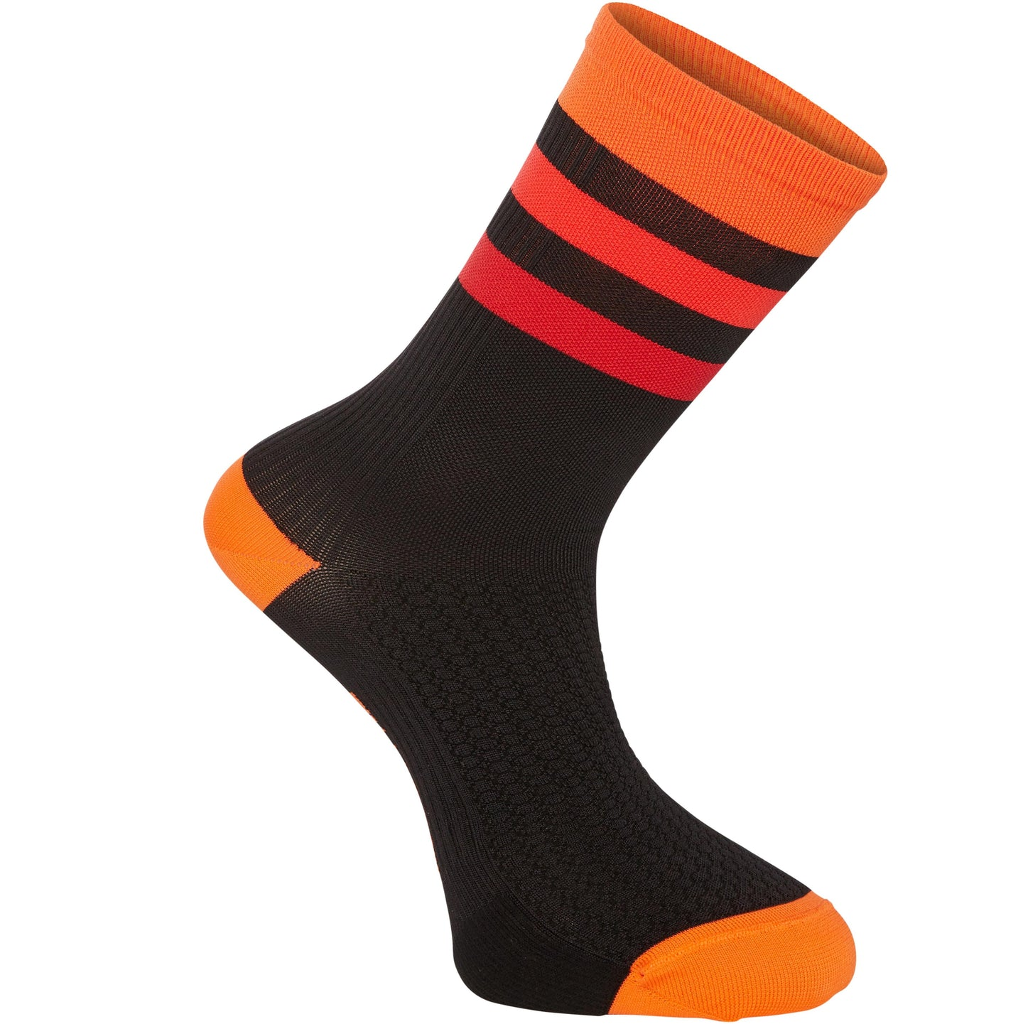 Madison RoadRace Premio extra long sock, hoops black / chilli red | VeloVixen