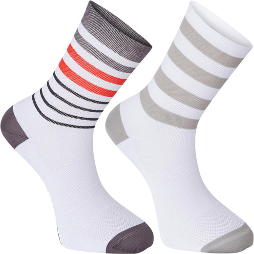 Madison Sportive long sock twin pack, multi hoops white / flame red | VeloVixen