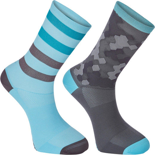 Madison Sportive long sock twin pack, hex camo blue curaco / phantom | VeloVixen
