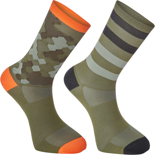 Madison Sportive long sock twin pack, hex camo dark olive / chilli red | VeloVixen
