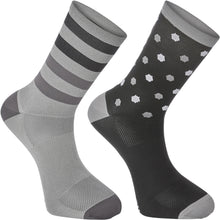 Load image into Gallery viewer, Madison Sportive Long Sock Twin Pack - Hex Dots Black/Cloud Grey