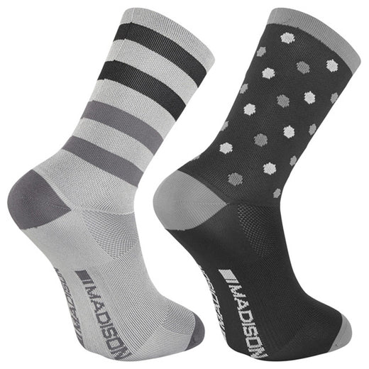 Madison Sportive Long Sock Twin Pack - Hex Dots Black/Cloud Grey