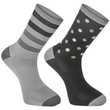 Load image into Gallery viewer, Madison Sportive long sock twin pack, hex dots black / cloud grey | VeloVixen