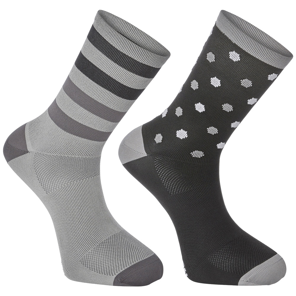 Madison Sportive long sock twin pack, hex dots black / cloud grey | VeloVixen