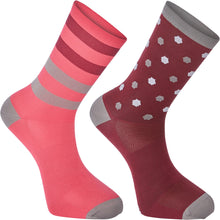 Load image into Gallery viewer, Madison Sportive Long Sock Twin Pack - Hex Dots Classy Burgundy/Bright Berry