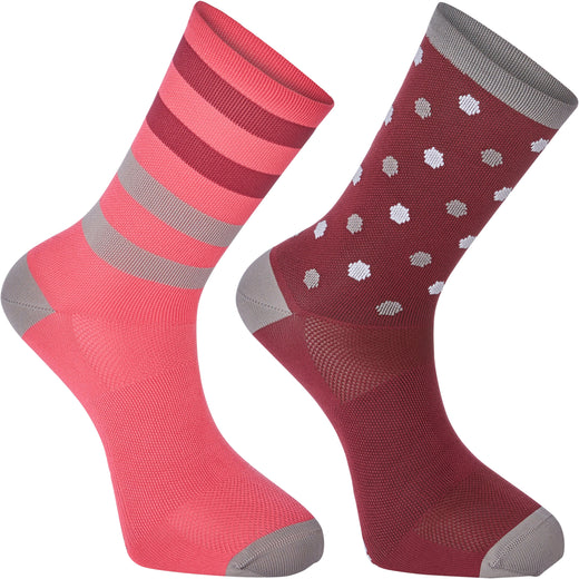 Madison Sportive Long Sock Twin Pack - Hex Dots Classy Burgundy/Bright Berry