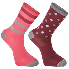 Load image into Gallery viewer, Madison Sportive long sock twin pack, hex dots classy burgundy / bright berry | VeloVixen