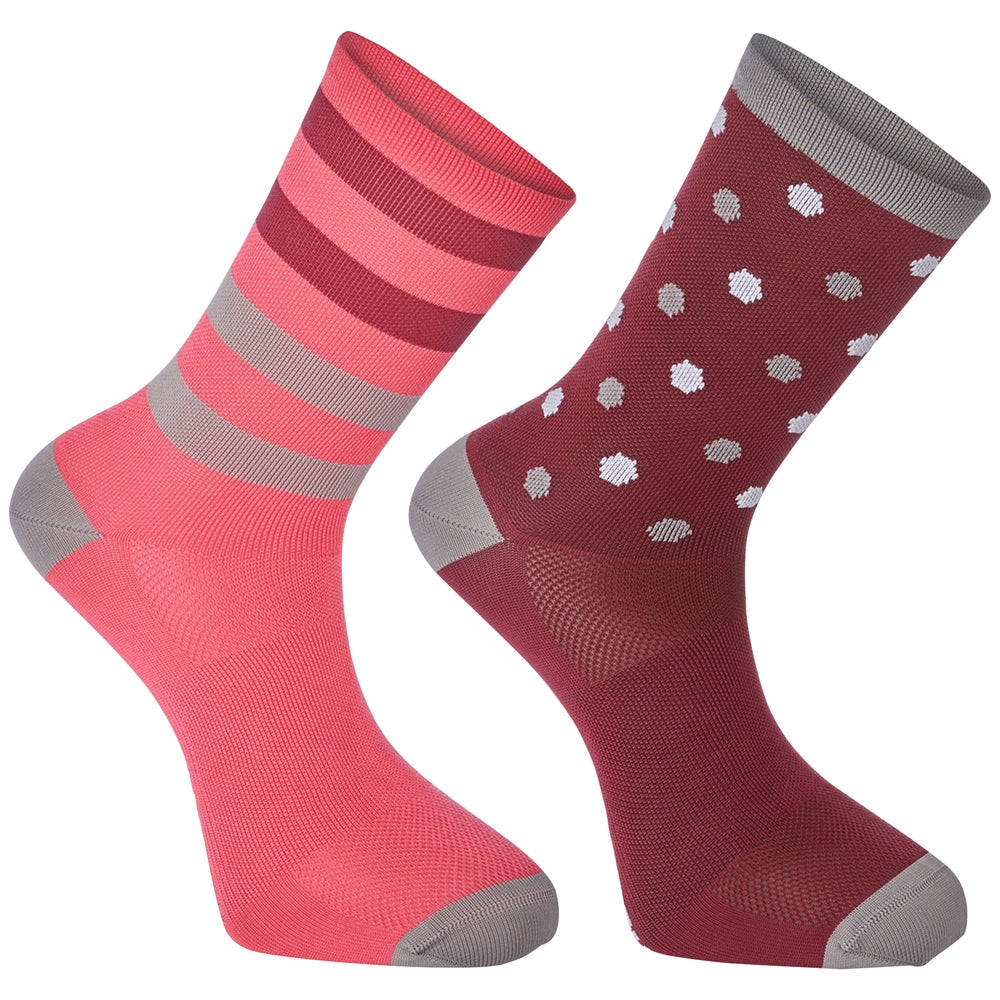 Madison Sportive long sock twin pack, hex dots classy burgundy / bright berry | VeloVixen