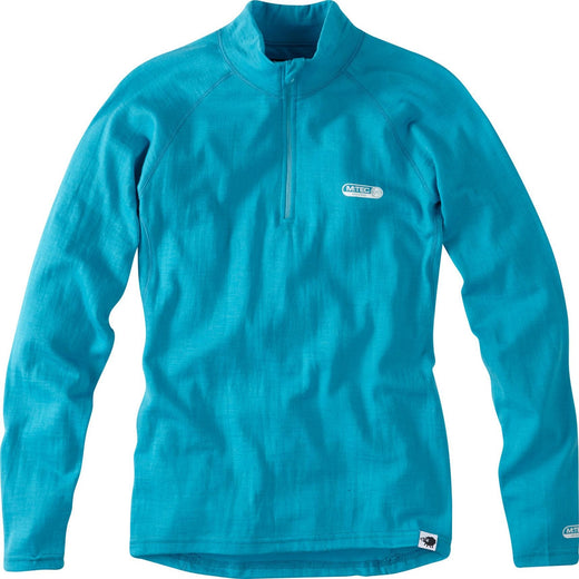 Madison Isoler Merino women's zip-neck baselayer, aqua blue | VeloVixen