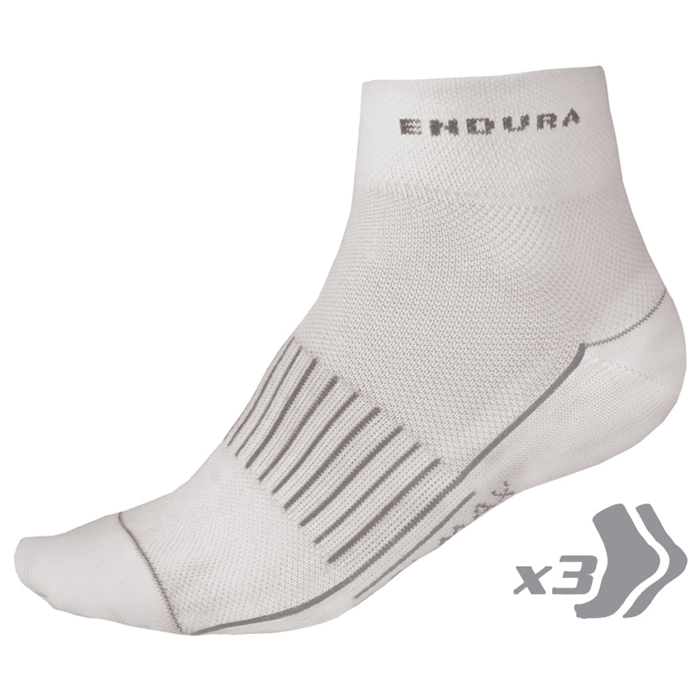 Endura COOLMAX Race Sock - Triple Pack (White)