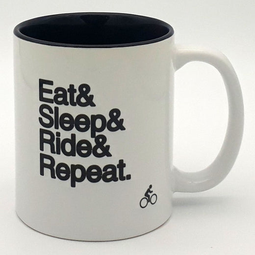 Worry Less Design Eat Sleep Ride Repeat Mug | Velo Vixen