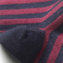 Load image into Gallery viewer, Findra Skye Merino Striped Socks - Charcoal/Plum