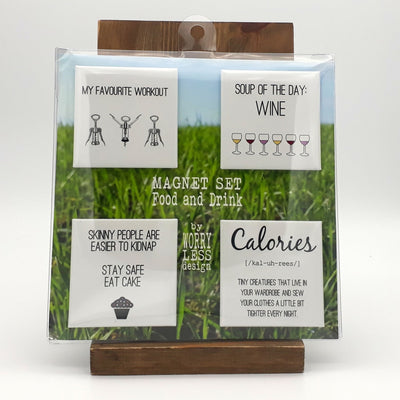 Worry Less Design Magnet Set - Food and Drink
