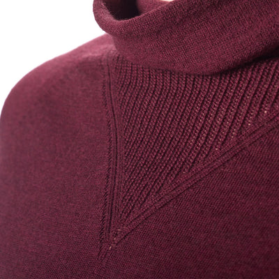 Findra Striped Marin Cowl Neck Merino Jersey (Dark Plum)