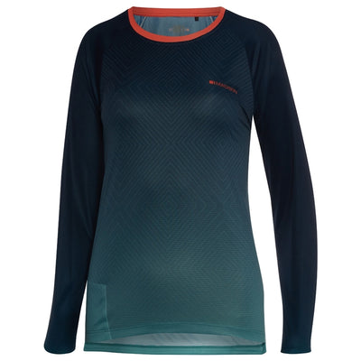 Madison Flux Enduro Women's Long Sleeve Jersey - Diamonds Ink Navy/Nile Blue