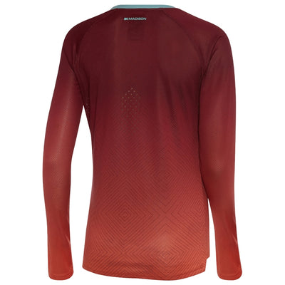 Madison Flux Enduro Women's Long Sleeve Jersey - Diamonds Classy Burgundy/Intense Coral