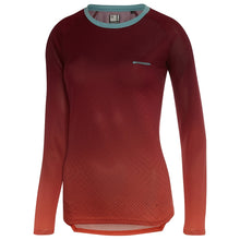 Load image into Gallery viewer, Madison Flux Enduro Women's Long Sleeve Jersey - Diamonds Classy Burgundy-Intense Coral | VeloVixen