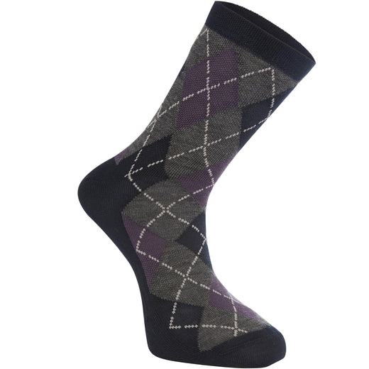 Madison Assynt Merino Mid Sock Argyle Ink - Navy