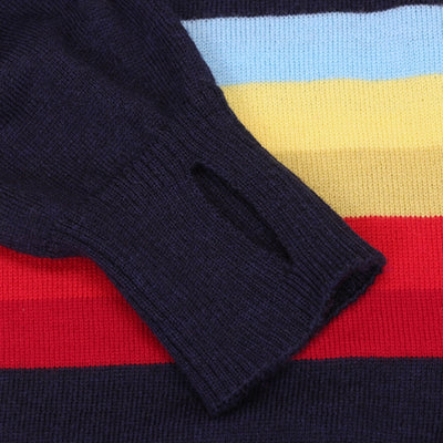 Jura Merino Jersey - Long Sleeve - Navy/Rainbow