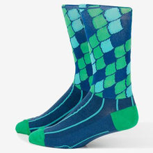 Load image into Gallery viewer, Primal Poseidon cycling socks blue green