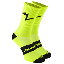 Load image into Gallery viewer, Morvelo Series Emblem Fluro Yellow Women's Cycling Sock | VeloVixen